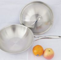 Stainless steel wok, thickness 2.5mm with cast iron handle