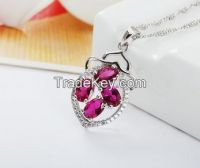 Chinese S925 Sterling Silver Platinum Plated  Spinel Pendant for Women
