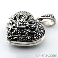 Heart marcasite locket