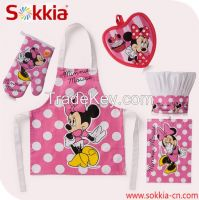 Wholesale Printed Cotton Adult Kitchen Apron Microwave Oven Glove Chef Hat