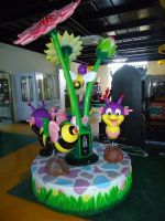 three seats lotus amusement carousel ride on toy