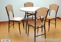 metal and wood dining table and chair set, dinette table set