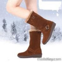 Winter shoe leather wedge snow boots female boots
