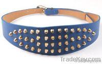 blue waistband wide belt with studs 2012
