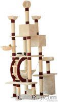 "98"" Light Brwon Spacious Cat Tree Play House 2 Condo Furniture Scratch"