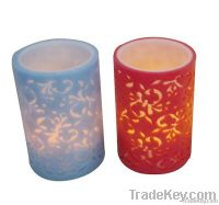 Flameless flower carved paraffin wax LED candle