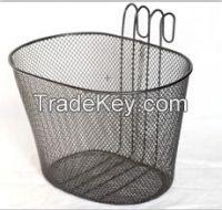 black steel wire bicycle hook basket