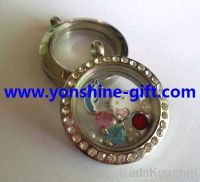 30MM Round Shaped Floating Locket With Or Without Rhinestones