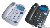 black and white basic Corded telephone with talking number function