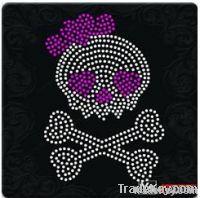 A3039 cute skull rhinestone transfer for t-shirt