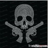A3021] rhinestone transfer skull with gun