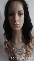 Indian human hair full lace wig, body wave two tone hair wig