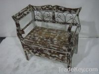 French Antique Shabby Chic Bench