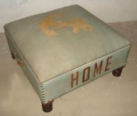 Canvas / Leather Ottoman