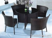 Black color PE rattan outdoor furniture adjustable reading table set
