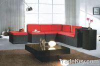living room furniture black PE rattan sofa furniture