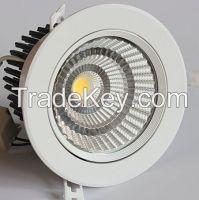 35W COB LED Downlight with TUV driver, white housing, RA80+