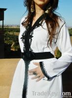 White Caftan with Black Embroidery-Laima Style