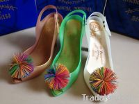 Women Jelly Heels Colorful Ball Plastic Shoes Open toe