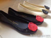 Women Jelly Plastic Rain Flat Pretty Casual Classic Crown Seal Shoes