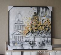 Handpainted Framed Acrylic Painting Autumn Street
