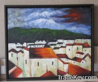 Handpainted Acrylic Painting Red town