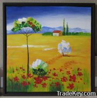 Handpainted Acrylic Painting Golden field