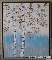 Handpainted Acrylic Painting Silver birch