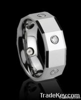 epoxy inlaid tungsten ring with cz stones, big size finger rings