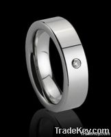 Mens or Womens Diamond Tungsten Carbide Ring, Tungsten ring with cz st
