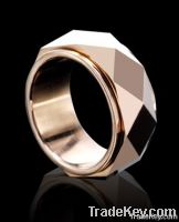 See larger image Matte Finished Center Tungsten Ring Gold Inlay