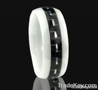 6mm 8mm Inlay  Carbon fiber White ceramic rings