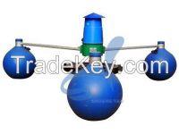 Impeller aerator with plastic impeller, iron impeller, HDPE float