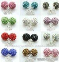 Hot Fashoin Shamballa Stud Earrings, Shamballa Beads Earring with Cryst