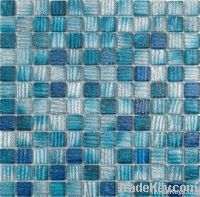 Stripe with glitter crystal glass mosaic STRIPE BLUE