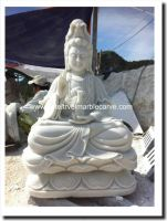 Marble Guan Yin Buddha Art Statue Carving #NDVN 345