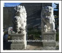 Marble Fudogs # NDVN 2113 temple guardian Foo Dog Lions carving Sculpture Garden Carving Statues