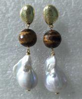 Pearl Earring with gemstone---tiger eye stone