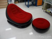 Flocked PVC Inflatable Chair and Sofa For Both Adu