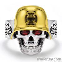 Cool Stainless Steel Gold-Plated Iron Cross German Helmet Skull Ring