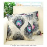 Peacock feathers short plush cushion pillowcase