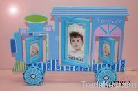 Cartoon train shaped plastic rotating photo frames