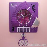 Badminton wall clcok