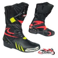 Outdoor Waterproof Anti Skid Black Red Neon Motorcycle Racing Boots Sports Men Motorbike Shoes