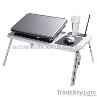 plastic laptop table with two usb fans