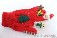 Red Christmas knit glove, winter warmly style