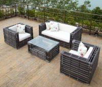 Round wicker garden sofa