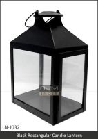 Modern Black Metal Candle Lantern in Iron and Glass