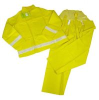 Yellow pvc polyester men's rainsuit with reflective tape