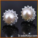 Pearls and zircon Fashion  Earrings